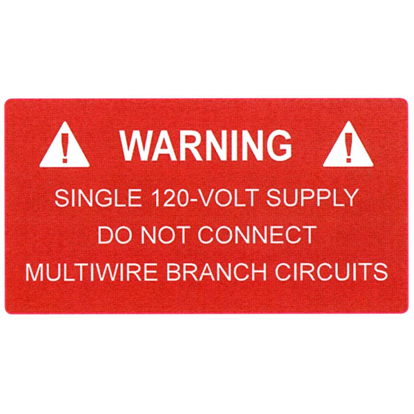 Solar Label, WARNING 120 VOLT SUPPLY, 3.75