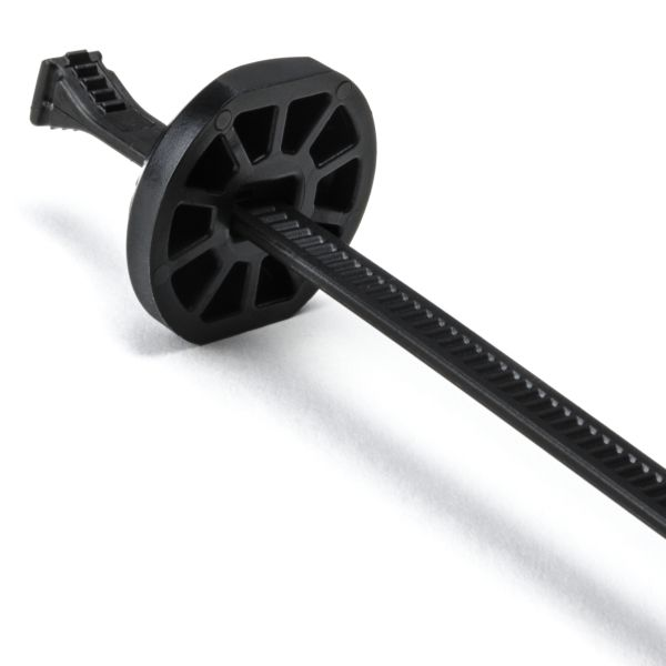 "Button Head Cable Tie, 15.0"" Long, 4.3"" Max Bundle Dia, 105lb, PA66HIRHSUV, Black, 2000/pkg"