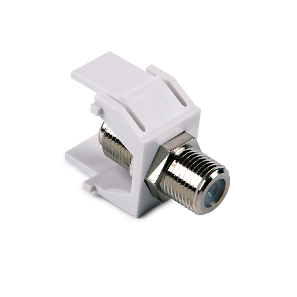 F Connector Module, White, 1/pkg