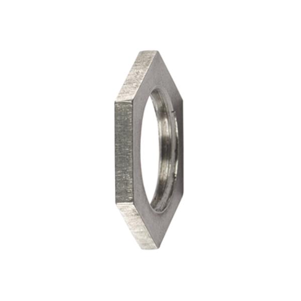 HelaGuard Metal Locknuts, Metric Thread, 25mm, Nickel Plated Brass, Silver, 10/pkg