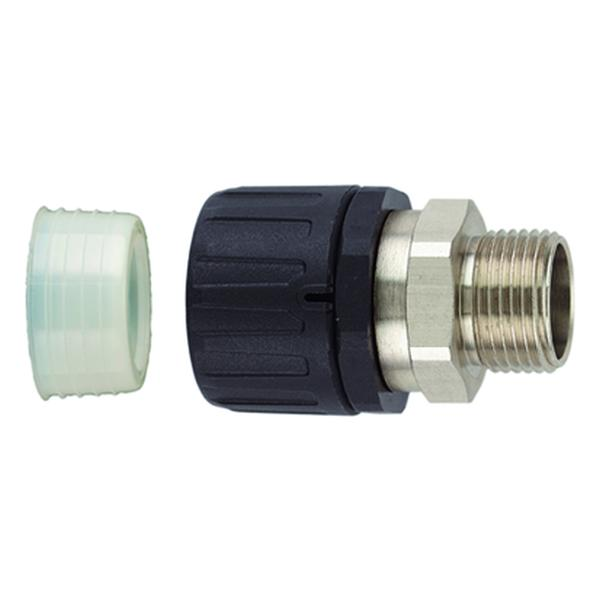 HelaGuard Non-Metallic IP68 Fitting, Straight Brass Swivel, Ext. Metric Thread, 0.75