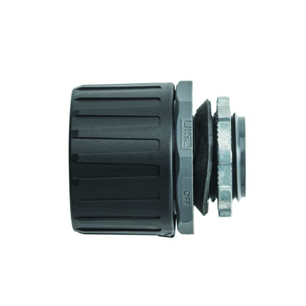HelaGuard Non-Metallic Ultra Fitting, Straight, IP68, M20 Thread, 21mm Dia, PA66, Black, 200/pkg