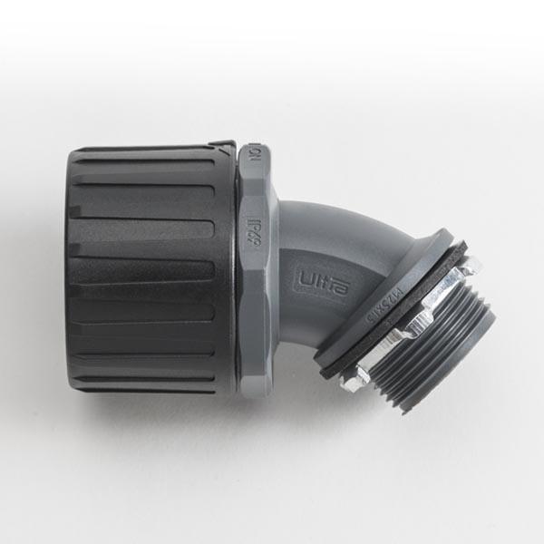 HelaGuard Non-Metallic Ultra Fitting, 45-Deg Elbow, IP68, M20 Thread, 21mm Dia, PA66, Black, 10/pkg