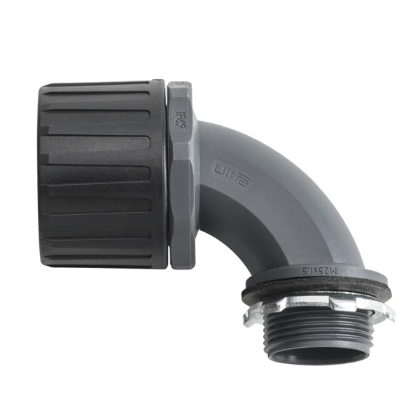 HelaGuard Non-Metallic Ultra Fitting, 90-Deg Elbow, IP68, M20 Thread, 21mm Dia, PA66, Black, 10/pkg