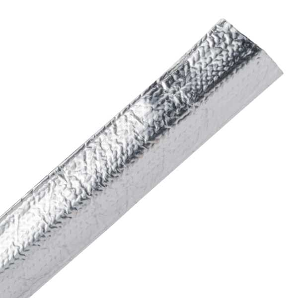 Braided Sleeving, Aluminum Laminated Fiberglass, .5 Dia, AL/GF, Silver, 100 ft/reel