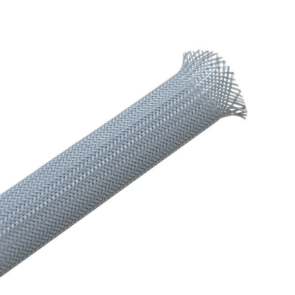 Helagaine Braided Sleeving, 12 mm Dia, PA66, GY, 328ft/Reel