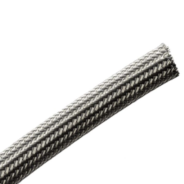 Electromagnetic Protection Braided Sleeving, Flame Retardant, 14 mm Dia,PET;TNCU, TCBK, 328ft/Reel