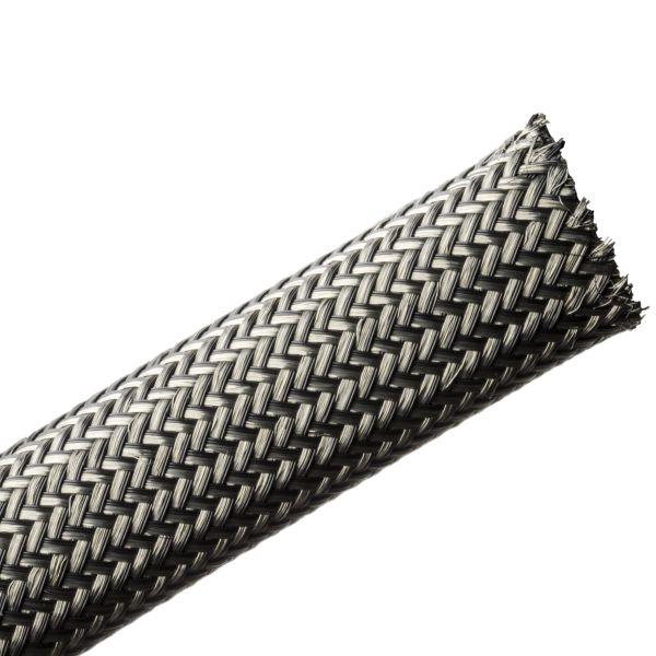 Electromagnetic Protection Braided Sleeving, Flame Retardant,18 mm Dia,PET;TNCU, TCBK, 164ft/Reel