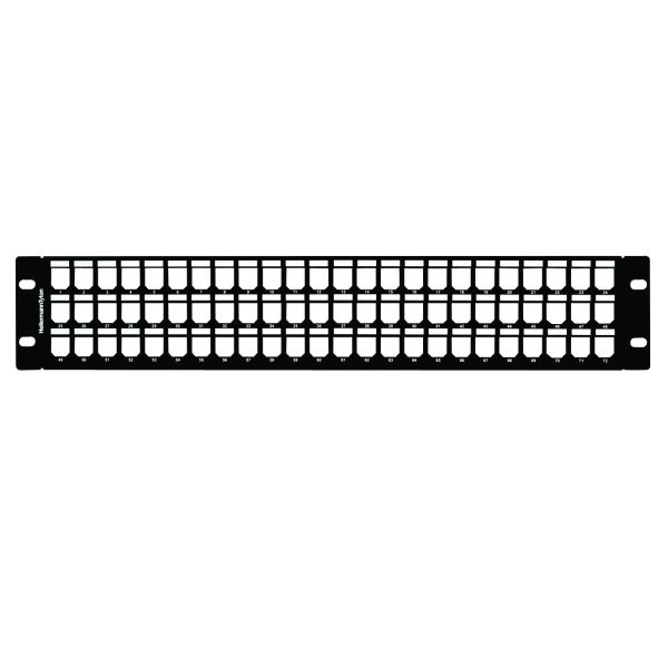 GST Angled Modular Patch Panel 72 Port, 2U, Steel, Black, 1/box