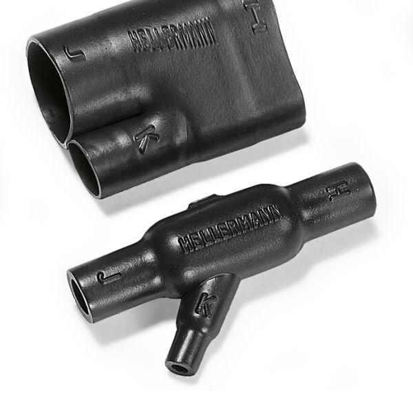 Heat Shrink Molded Shapes, 1300 Series 45 Angle T - VG,1306-1-B7, PO-X, BK, 1/bag