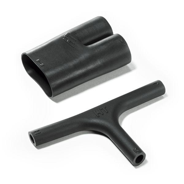 Heat Shrink Molded Shapes, Low-Profile Transition T-Boot, 412H624-6, PO-X, BK, 5/bag