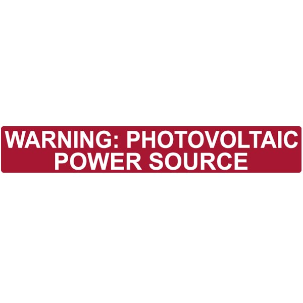 Solar Label, Reflective, Warning Photovoltaic Power Source, 6.5