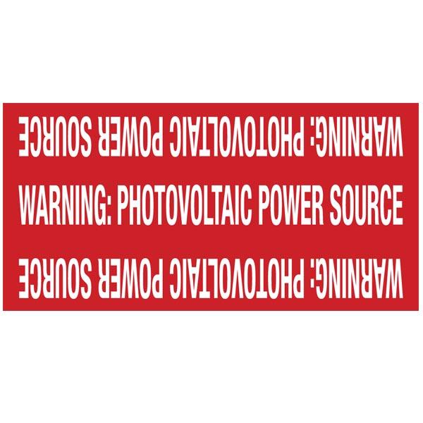 Solar Circuit Marker, WARNING: PV POWER SOURCE, 4