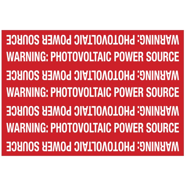 Solar Marker, Reflective, Non-Adhesive, WARNING: PV POWER SOURCE, 7.25