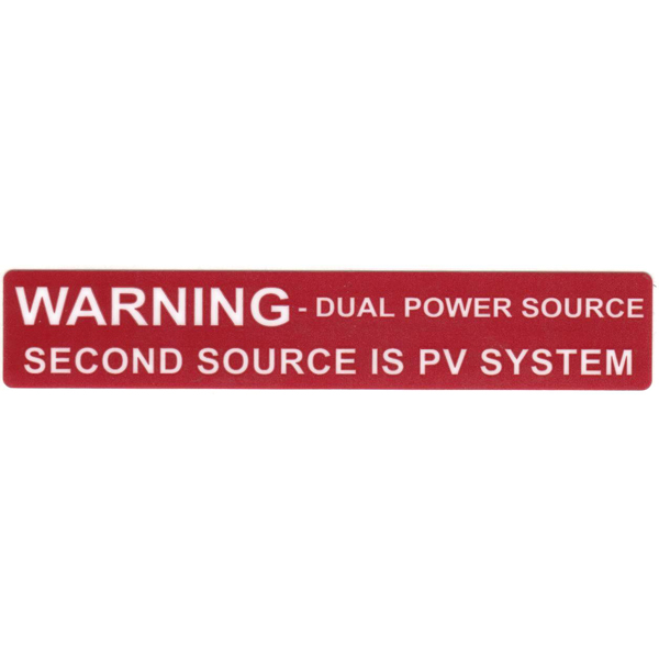 Solar Label, WARNING DUAL POWER SOURCE…SYSTEM, 4.125