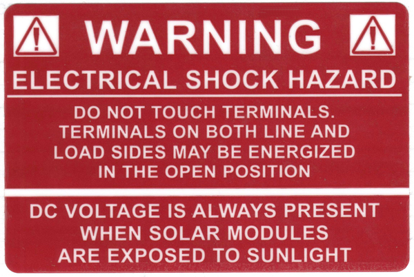 Solar Label, WARNING ELECTRICAL SHOCK HAZARD…DC VOLTAGE, 3.75