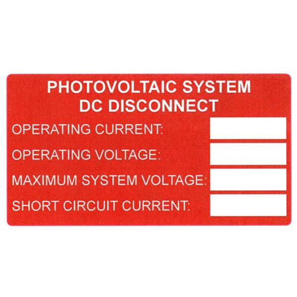 Solar Label, Printable, DC Rating, 3.75