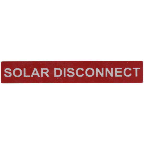 Solar Label, Reflective, SOLAR DISCONNECT, 6.5