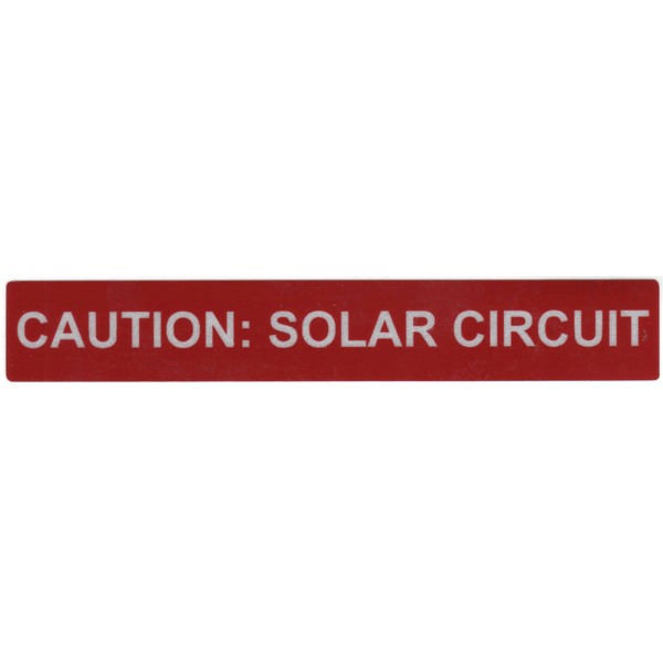 Solar Label, Reflective, CAUTION SOLAR CIRCUIT, 6.5