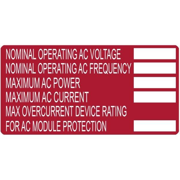 Solar Label, Printable, 2017 Code, AC MODULE, 4.0