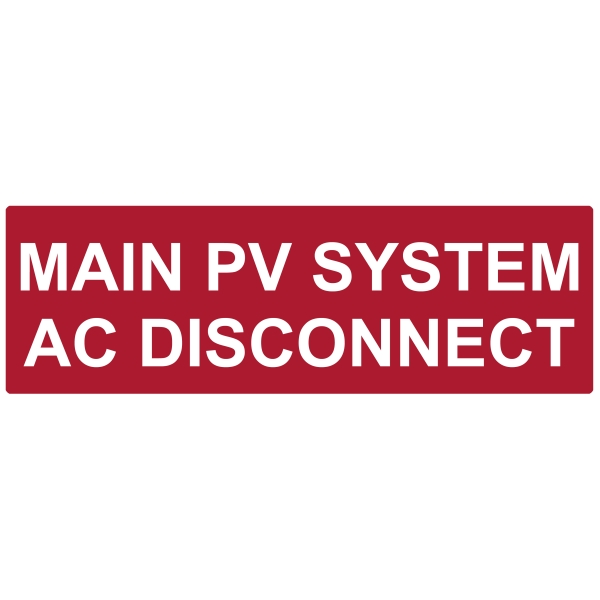 Solar Label, Reflective, 2017 Code, MAIN PV AC DISCONNECT, 5.5