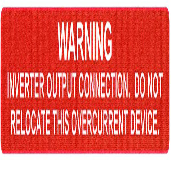 Solar Label, WARNING INVERTER OUTPUT…OVERCURRENT DEVICE, 4.12