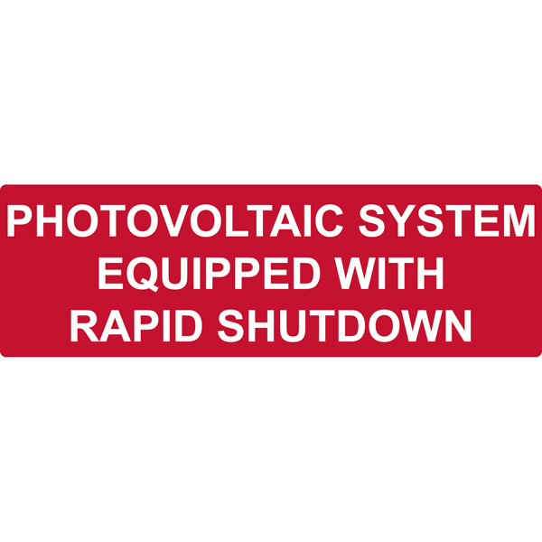 Solar Label, Reflective, PHOTOVOLTAIC SYSTEM...RAPID SHUTDOWN, 5.5