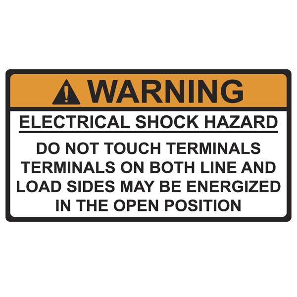 Solar Label, WARNING ELECTRICAL SHOCK HAZARD, 3.75