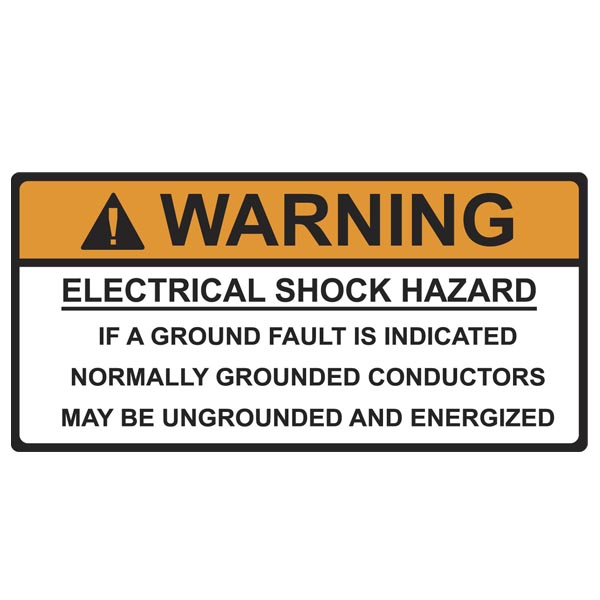 Solar Label, WARNING GROUNDED CONDUCTORS ENERGIZED..., 4.125