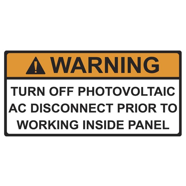 Solar Label, Warning Turn off PV Prior to..., 4.125