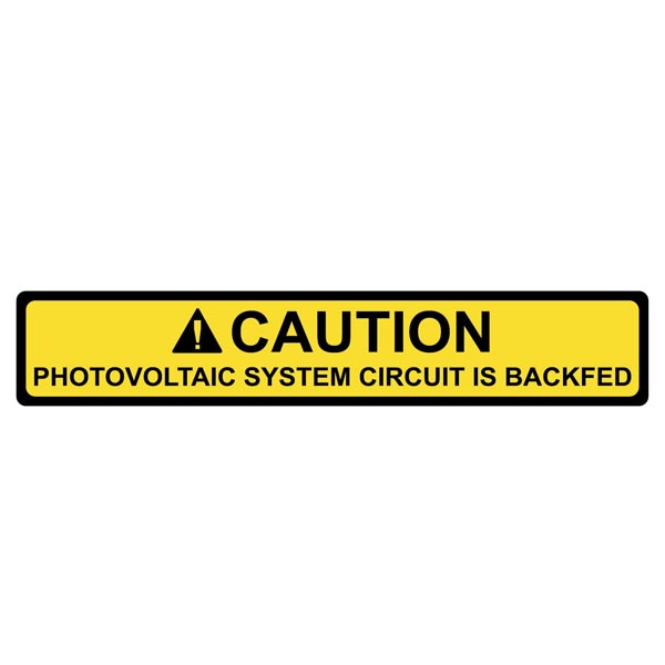 Solar Label, 2017 Code, CAUTION PHOTOVOLTAIC SYSTEM BACKFED, 4.12