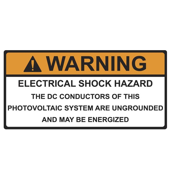 Solar Label, WARNING ELECTRICAL SHOCK HAZARD, 4.125