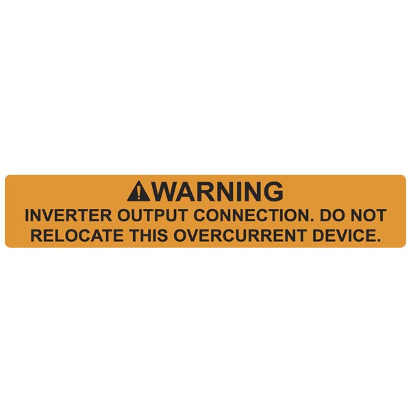 Solar Label, WARNING INVERTER OUTPUT CONNECTION, 4.125