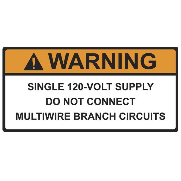 Solar Label, WARNING 120-VOLT SUPPLY, 3.75
