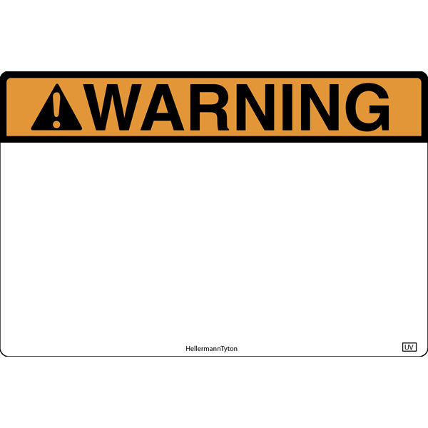 Pre-Printed Header Label, WARNING, 6.0