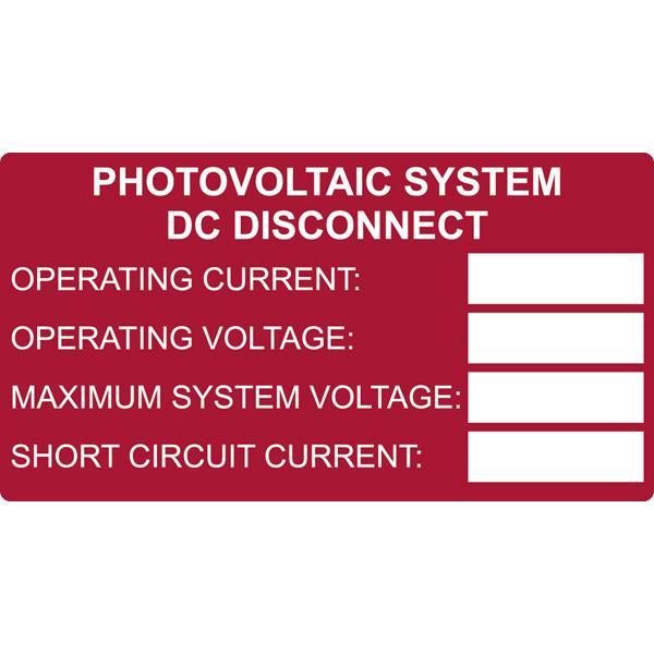 Solar Label, Printable, DC Rating, 3.75