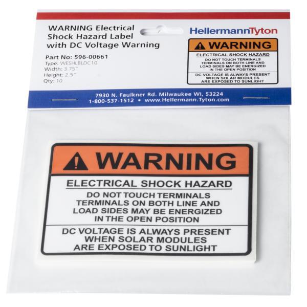 Solar Label, WARNING ELECTRICAL SHOCK HAZARD…DC VOLTAGE, 3.75