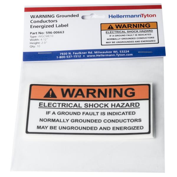 Solar Label, WARNING GROUNDED CONDUCTORS ENERGIZED..., 4.12