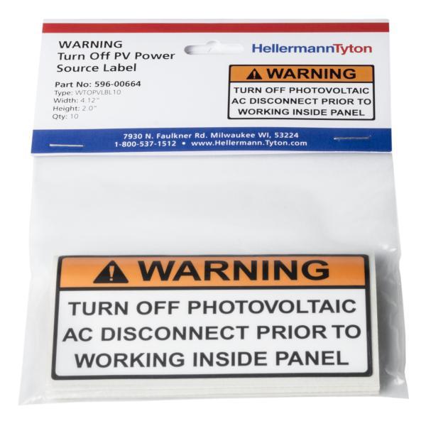 Solar Label, Warning Turn off PV Prior to..., 4.12