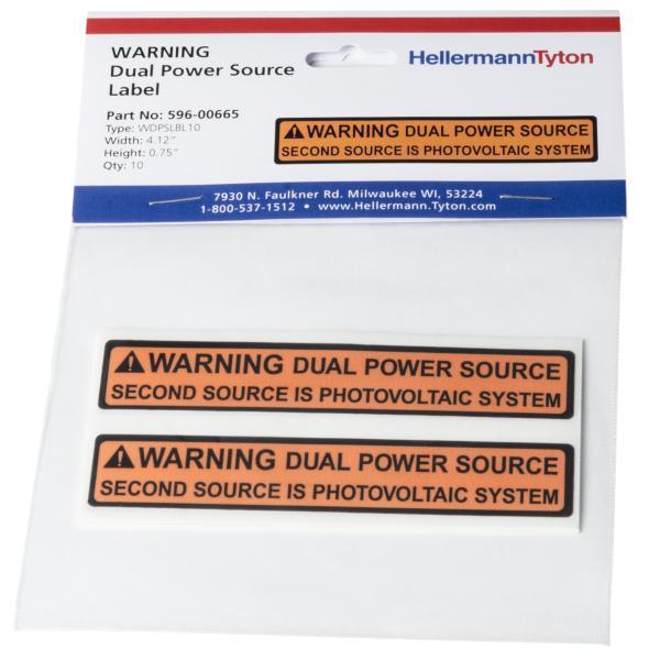 Solar Label, 2017 Code, WARNING DUAL POWER SOURCE…SYSTEM, 4.125 x .75, VL, Orange/White, 10/pkg
