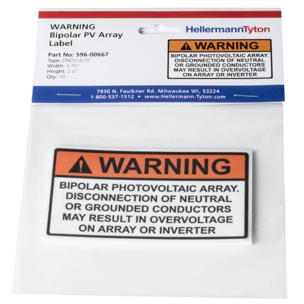 Solar Label, WARNING BIPOLAR PV ARRAY, 3.75