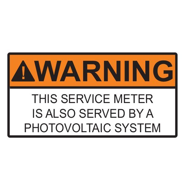 Solar Label, WARNING SERVICE METER SERVED BY PV SYSTEM, 4.0