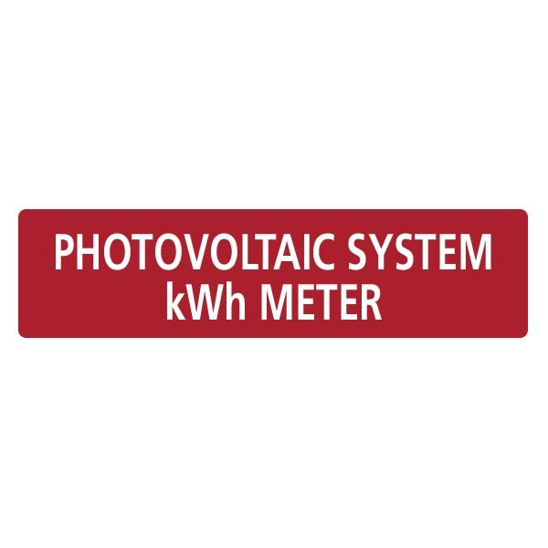Solar Label, PHOTOVOLTAIC SYSTEM kWh METER, 4.0