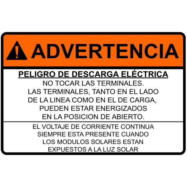 Pre-Printed Solar Label, Spanish, WARNING - ELECTRICAL SHOCK HAZARD W/DC, 3.75