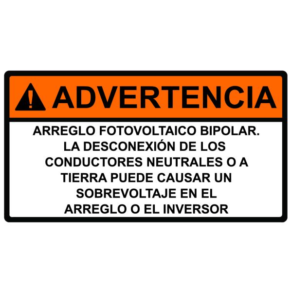 Solar Label, Spanish, WARNING BIPOLAR PHOTOVOLTAIC ARRAY, 3.75