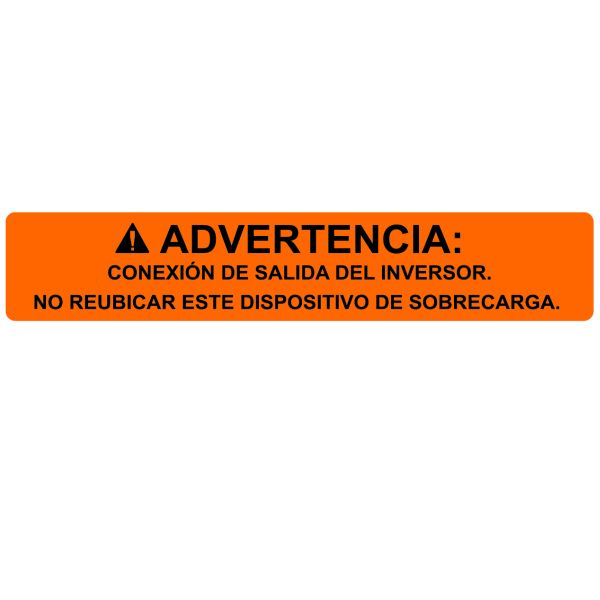 Solar Label, Spanish, WARNING INVERTER OUTPUT…OVERCURRENT DEVICE, 4.12