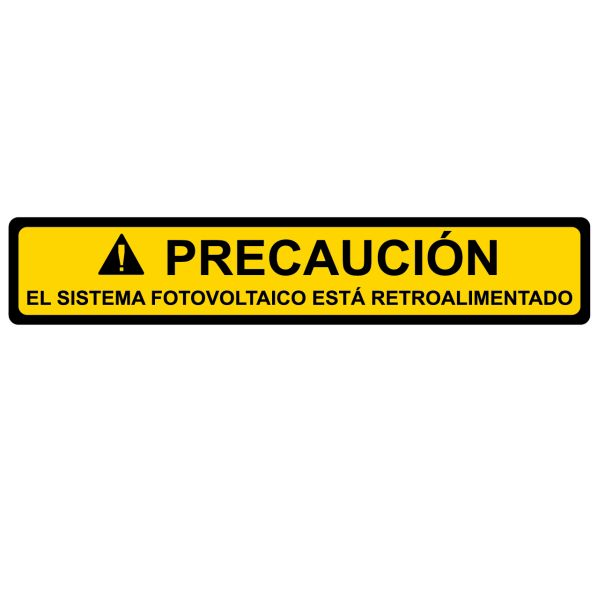Solar Label, Spanish, CAUTION PHOTOVOLTAIC SYSTEM BACKFED, 4.12