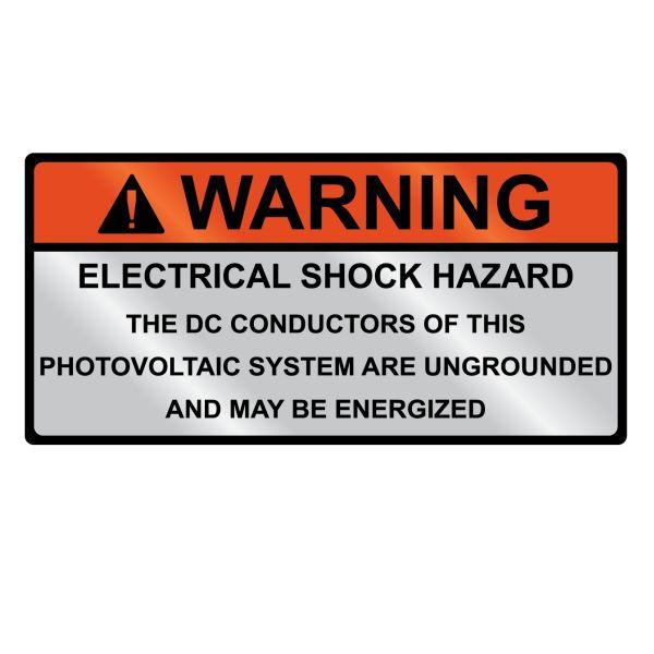 Metal Solar Placard, WARNING ELECTRICAL SHOCK HAZARD…Hand Writable, 3.75