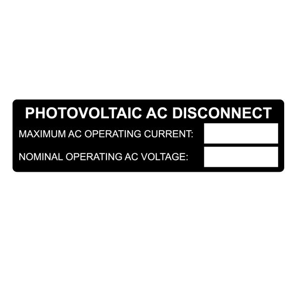 Metal Solar Placard, Hand Writable, PHOTOVOLTAIC AC DISCONNECT..., 3.75