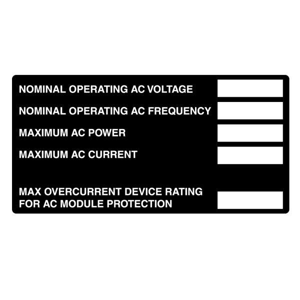 Metal Solar Placard, Hand Writable, 2017 Code, AC Module, 4.0